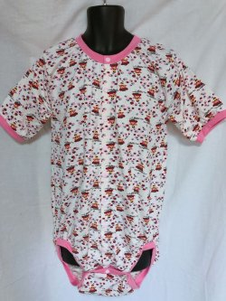 Photo1: Adult Baby  Onesie  Strawberry Fairy Pattern Short Sleeve Front Open Type