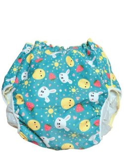 Photo1: Adult baby diaper cover with animals prints